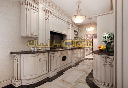 کابینت آشپزخانه کلاسیک و وسایل داخلی از جمله انواع کمد و قفسه های زمینی و دیواری ، سینک ، گاز