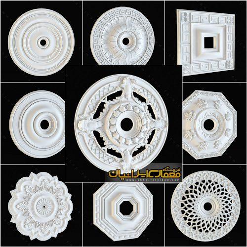 آبجکت گچ بری - آبجکت تزئینات داخلی ساختمان - مدل سه بعدی گچ بری - آبجکت دورلامپ