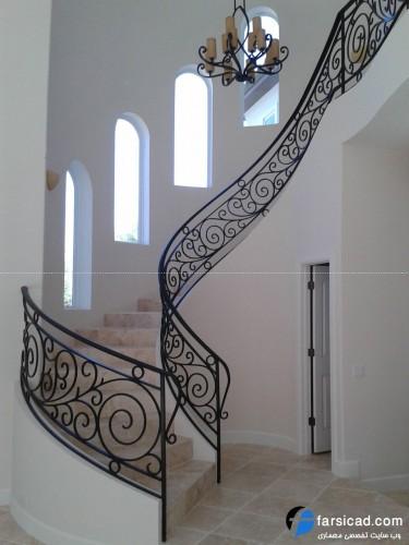 پله گرد، پله ساختمان دوبلکس ، پله نیم دایره، نرده پله