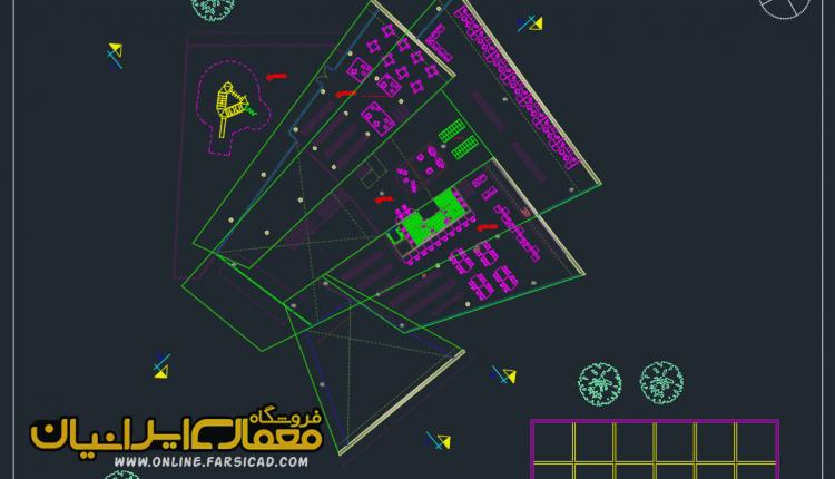 نقشه کتابخانه - پلان کتابخانه - نقشه اتوکدی کتابخانه - طرح کتابخانه